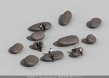办公休息区石头坐凳
